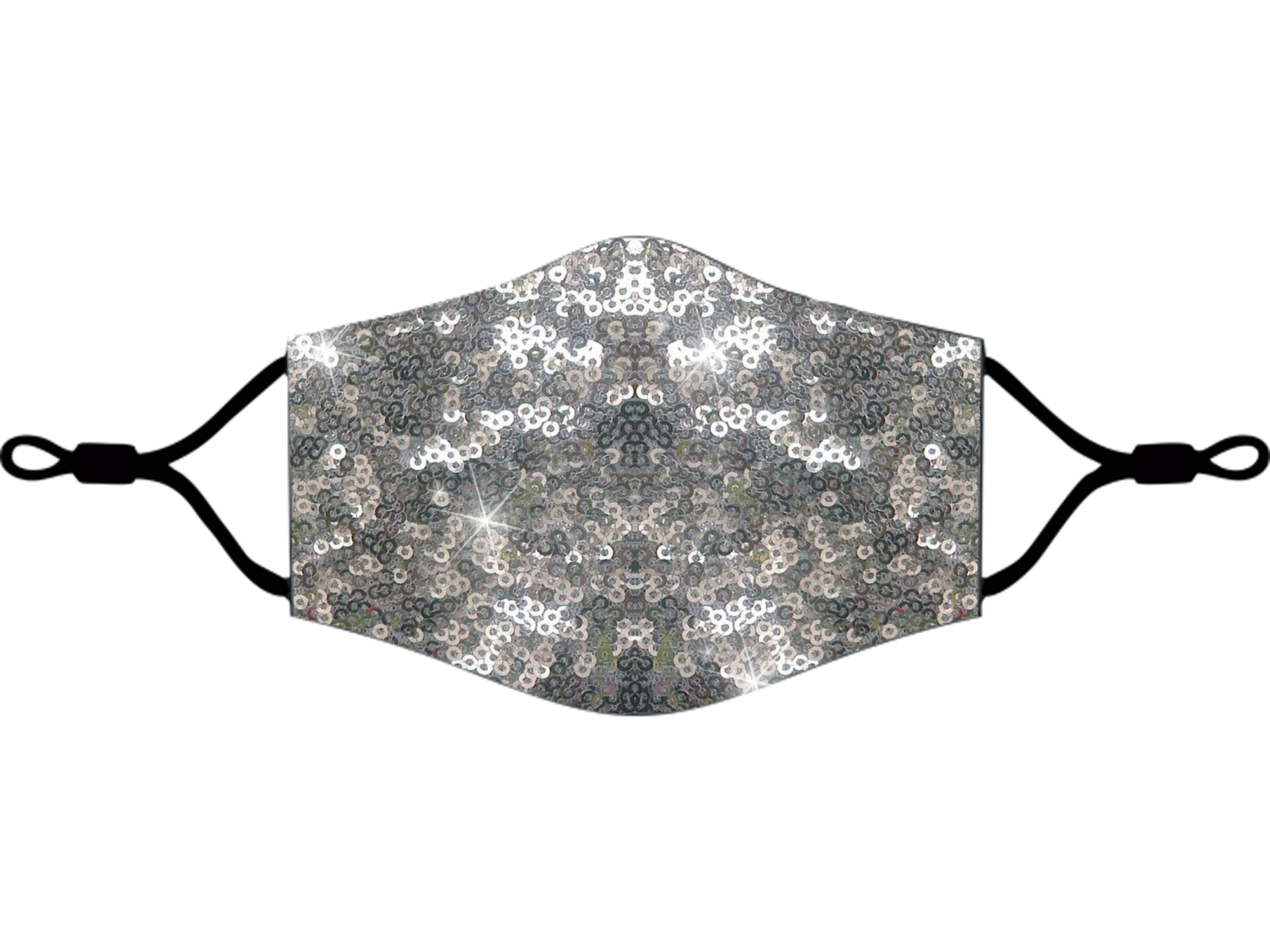 Adjustable Sequins Fabric Mask Silver