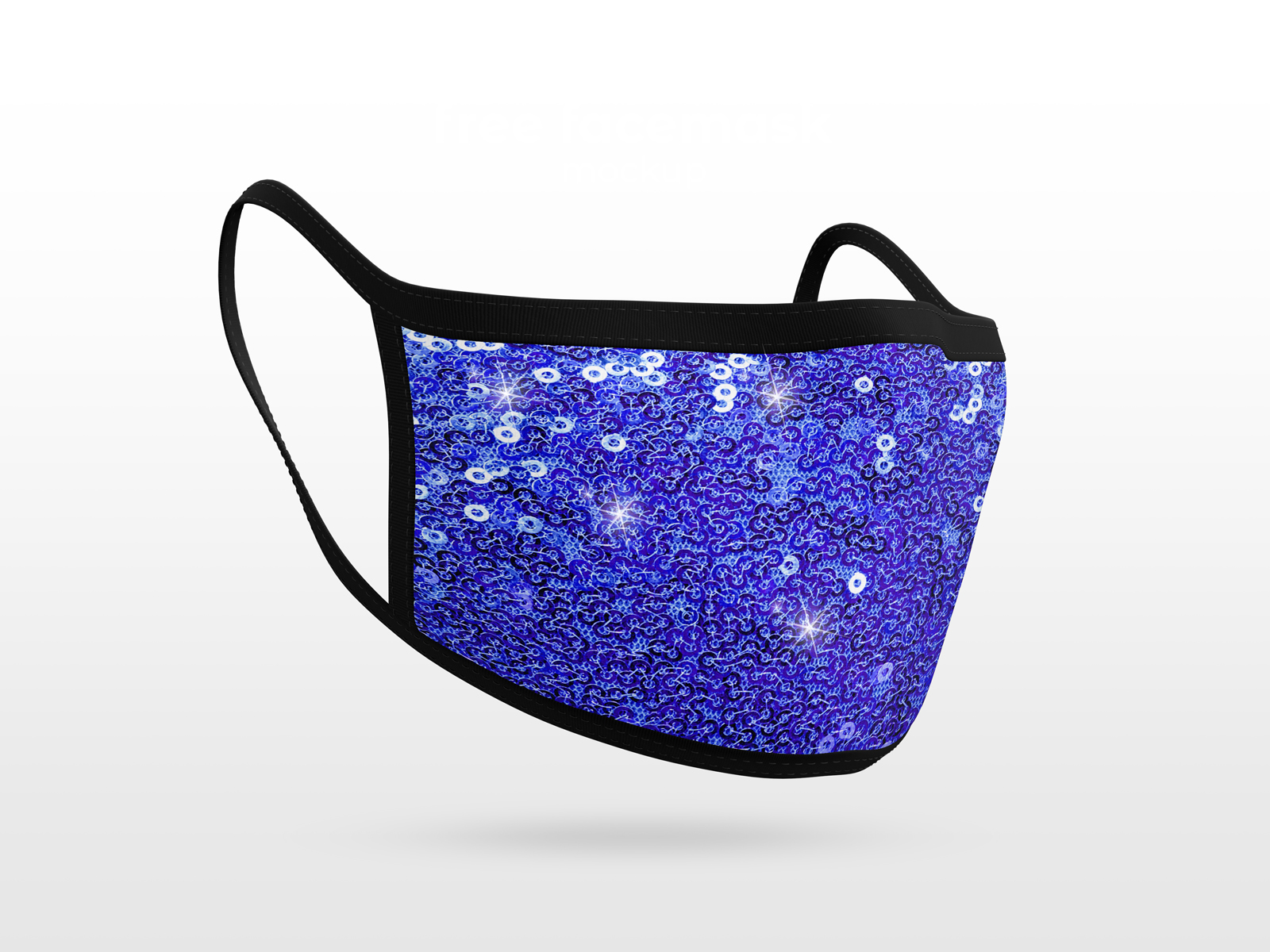 Sequins Fabric Mask Blue