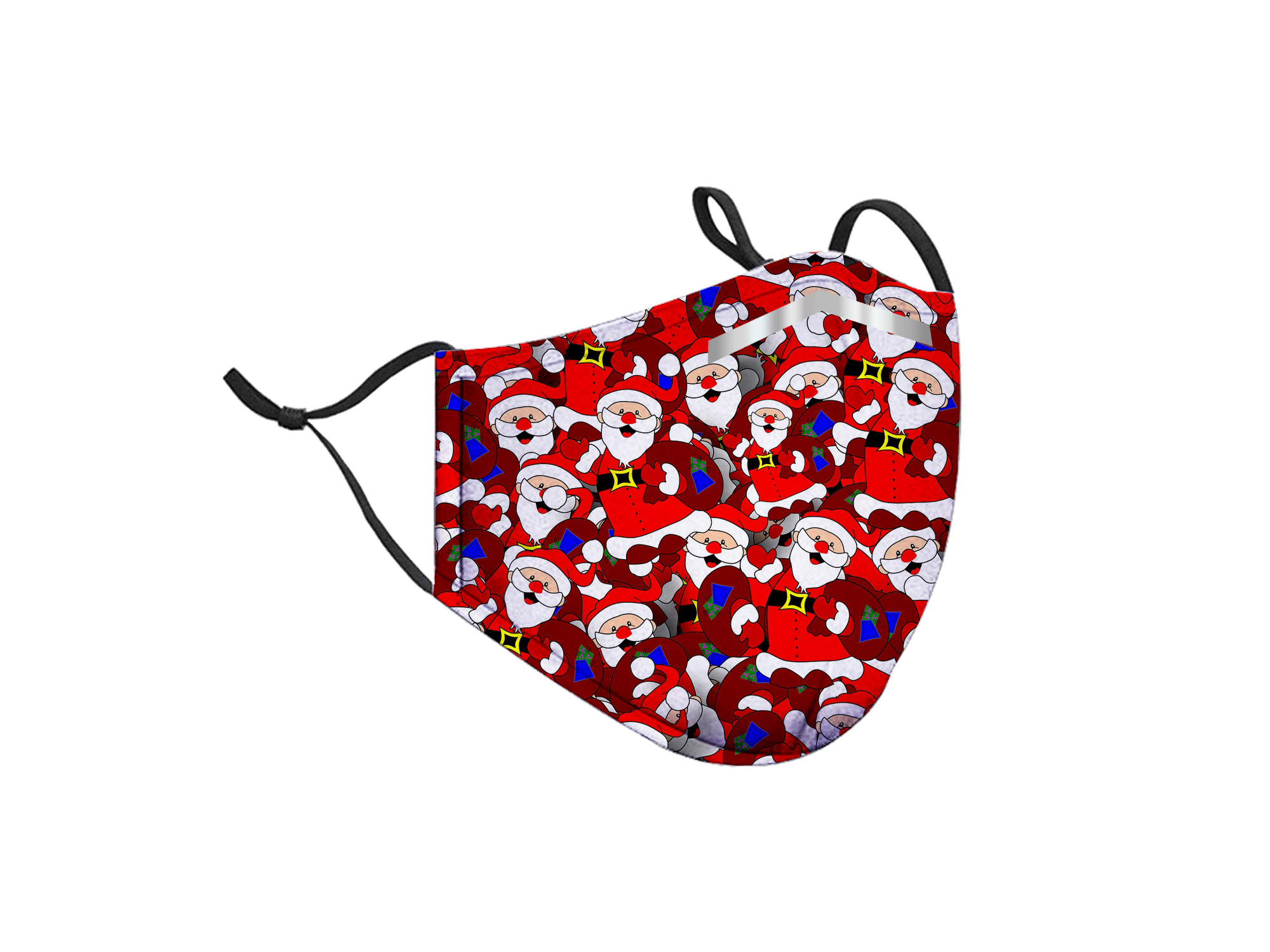 Santa Pattern Adjustable Mask with PM2.5 Filters