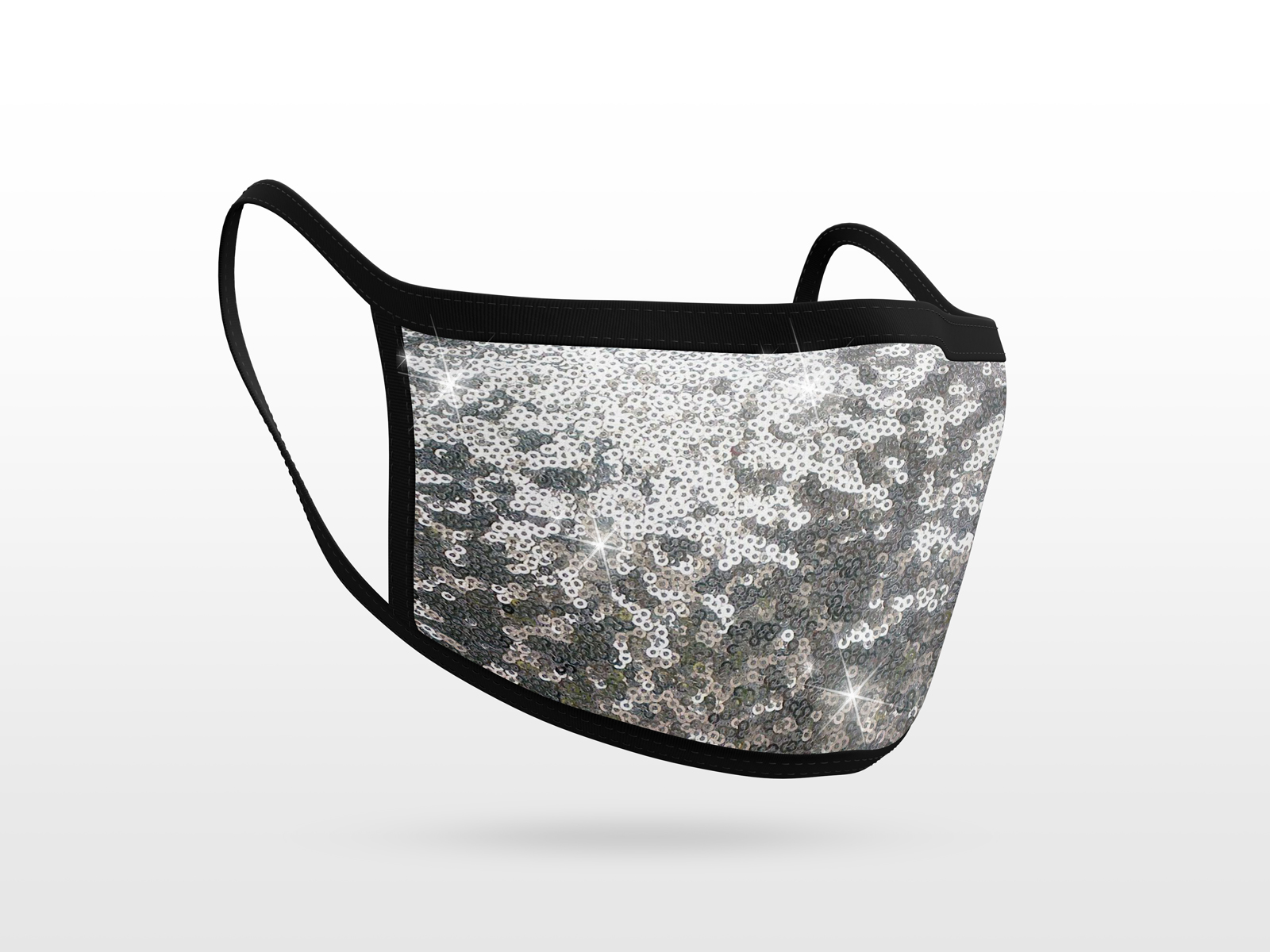 Sequins Fabric Mask Silver
