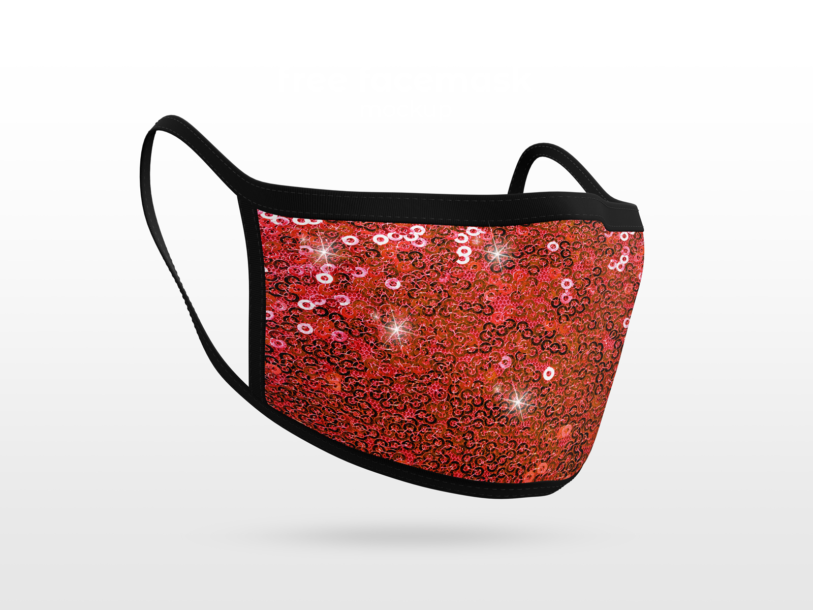 Sequins Fabric Mask Red