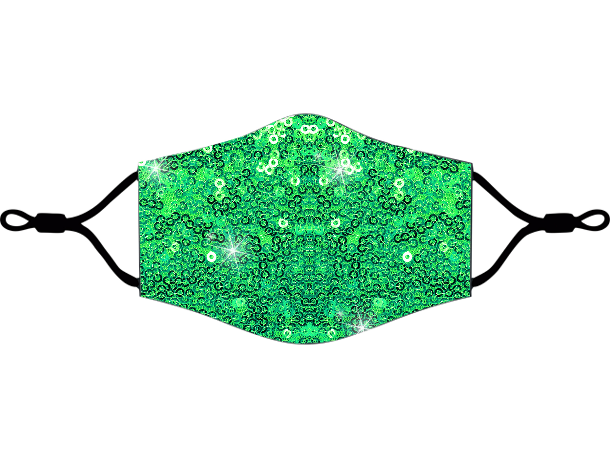 Adjustable Sequins Fabric Mask Green