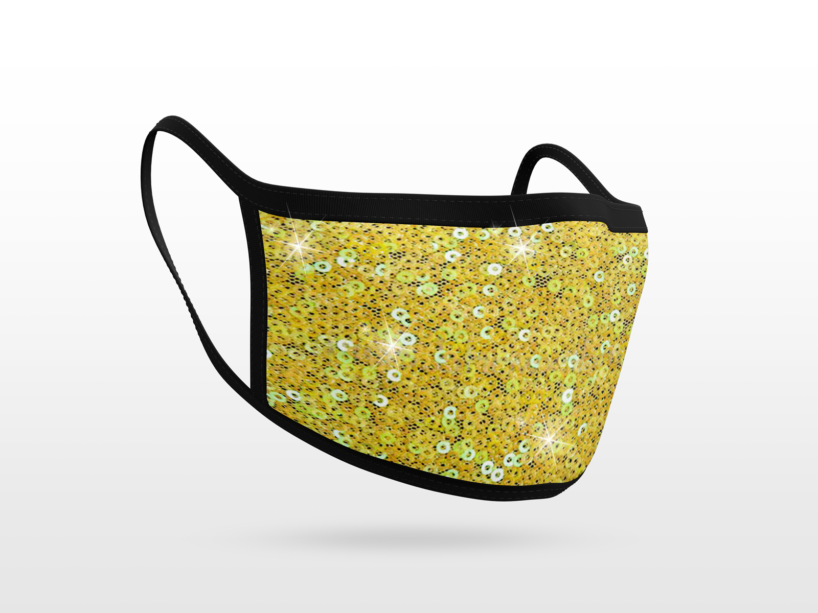 Sequins Fabric Mask Yellow